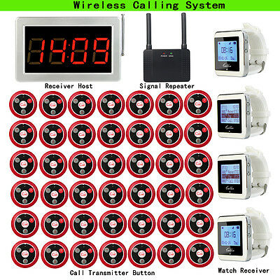 Restaurant Calling System Host+4 Watch Receiver+Signal Repeater+42 Call Buttons