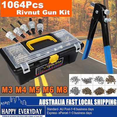 1064Pcs Blind Rivnut Rivet Nut Nuts Gun M3 to M8 Rivnuts Nutsert Tool Kit Set AU