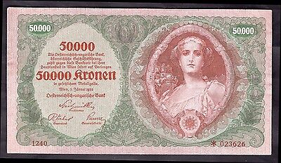 Austria. 50,000 Kronen, 1240 *023626, 2-1-1922. Nearly Very Fine.
