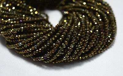 10 Strand 3mm Mystic Golden Coated Pyrite Cut Rondelle Gemstone Beads 13 Inches