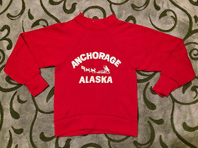 Vintage 60s Childrens Sweatshirt Red Anchorage Alaska Eskimo Dogsled Souvenir