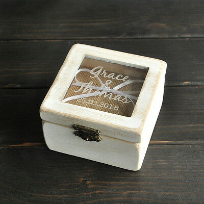 Personalized Wooden Ring Box, Rustic Wedding Ring Bearer Box,Custom Ring Holder