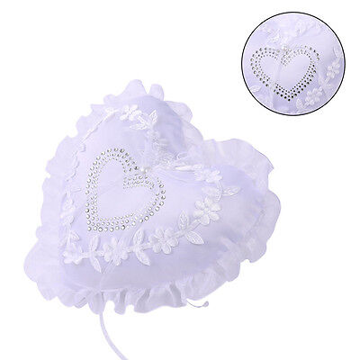Wedding Ring Pillow Embellished Padded Cover Satin Pearl Diamonte Heart-shaped