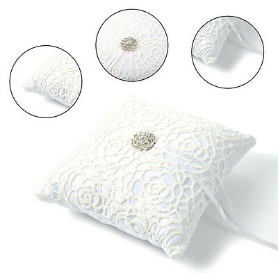 Wedding Ceremony Ivory Satin Crystal Flowers Ring Bearer Pillow Cushion Decor