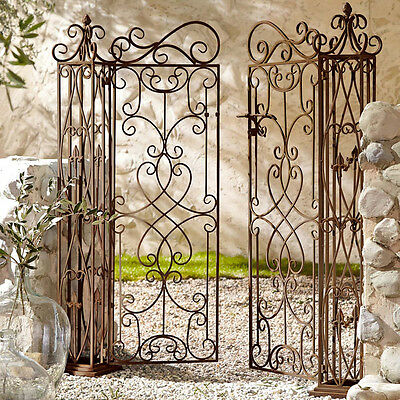 Wrought Iron Double Gate With Posts Garden Gate Decor Ornament Metal Brown