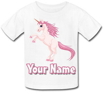Pink Unicorn Sublimation Personalised Baby T-Shirt *Great Child's Named Gift *