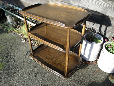 Antique Vintage Ercol 3 Tier Dark Wood Tea Trolley Shabby Chic Up Cycle Steam