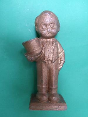 Antique  Metal Paper Weight Character Boy Figurine Dresed in Tuxedo & Bow Hat