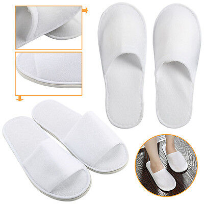 1/5 Pairs White Towelling Open Closed Toe Hotel Slippers Spa Shoes Disposable SD