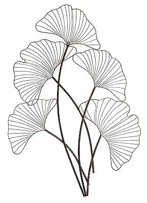 Ginko Tree Metal Hanging Wall Art Leaf Leaves Sculpture Home Garden BIG *116 cm*