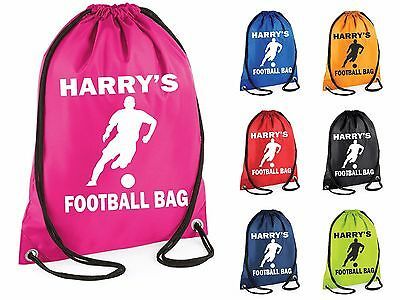 Personalised Football Gym Bag Swim Nursery Drawstring School PE Kit Sports Kids