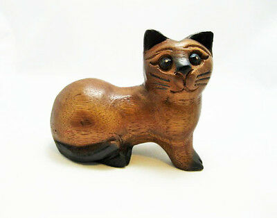 Hand Carved Small Wooden Cat, Home & Office Decor, Cute Kitty NEW