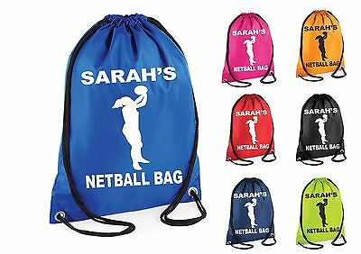 Personalised Netball Gym Bag Swim Nursery Drawstring School PE Kit Sports Kids