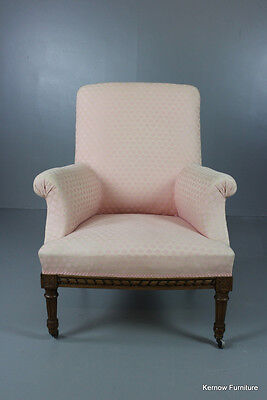 Antique Pink French Upholstered Armchair Chair