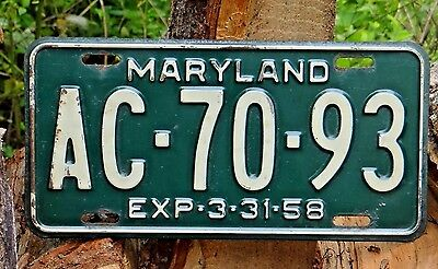 1958 Maryland License Plate Tag SINGLE # AC 7093 Original *** Nice *** See Other
