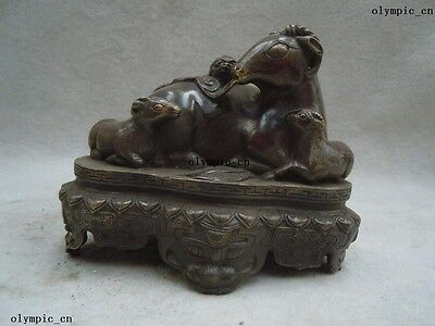Chinese copper brass carved finely luck three sheep sculpture statue