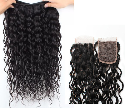 300g WATER WAVE + CLOSURE CURLY Brazilian Virgin Human Hair Extensions 8A Weave
