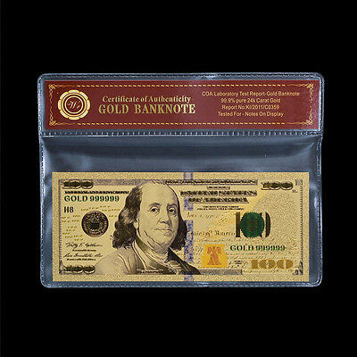 WR New US Dollar Bill $100 Colorful Gold Banknote Best Gift with COA Frame