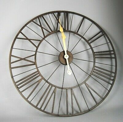 Large Metal Round Roman style Wall Clock in a Dark Brown with Gold