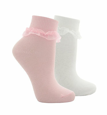 Childrens Girls Lace Socks Turn Over Organza Frill 3 Pairs Plain Back to School
