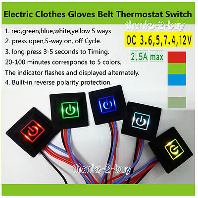 DC 3.7V~12V Thermostat Temperature Control Switch F Electric clothes Gloves Belt