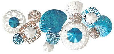 Abstract Metal Wall Art Aqua Coral Reef Blue Silver Hanging Sculpture *142 cm*