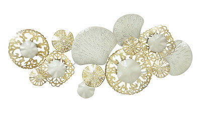 Abstract Metal Wall Art Coral Reef Sea Gold White Hanging Sculpture BIG 142 cm