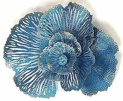 Abstract Metal Wall Art Coral Flower Aqua Blue Hanging Sculpture Garden *75 cm*