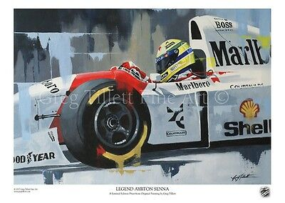 AYRTON SENNA limited edition print by artist Greg Tillett FORMULA ONE F1 Poster