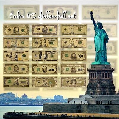 WR 15PCS Complete Set of American Bill Banknote Colored Gold $1-$1 Billion USD