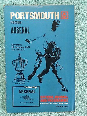 1971 - PORTSMOUTH v ARSENAL PROGRAMME - FA CUP 4TH ROUND - DOUBLE SEASON