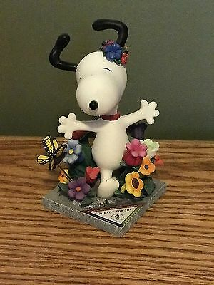 """SNOOPY PEANUTS ON PARADE #8395 WESTLAND GIFTWARE """"Jumpin For Joy"""" AUTOGRAPHED"""