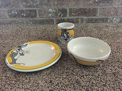 Bugs Bunny Looney Tunes Plate Bowl & Cup by Gibson