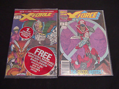 X-Force #1 mint in original bag with trading card, and #2.