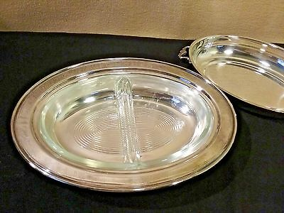 "Vintage Silver Plated covered Serving Dish with 9"" Divided Glasbake Insert # 558"