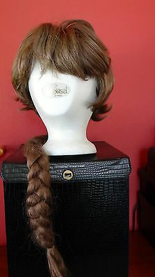 Vintage Collectible 1960's Carousel Acrylic Wig & Pigtail + Head & Storage Case