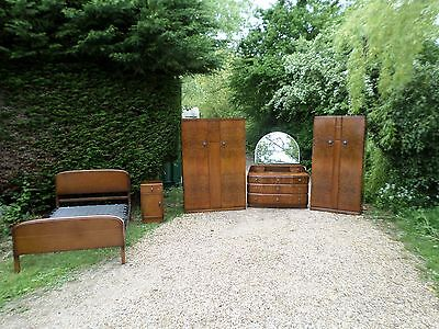 c1930S ART DECO WALNUT BEDROOM 5 PCE SUITE WARDROBE DRESSING CHEST DRAWERS BED D
