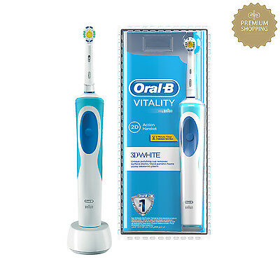 Braun Oral-B Vitality 3D White Rechargeable Electric Toothbrush 2 Minutes Timer