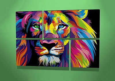 Abstract Lion Animal Lover Multi Colour Wildlife 4 Panel Wall Canvas Art Picture