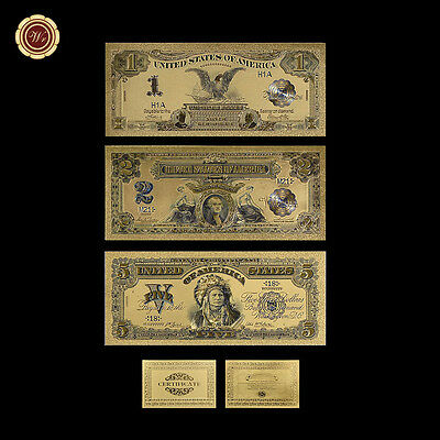 WR 1899 Series 3PCS $1 $2 $5 Indian Chief US Gold Foil Banknote Set Collection