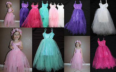 Girl Long Tulle PRINCESS DRESS Fairy Costume Ballet Elsa Aurora Birthday Photo