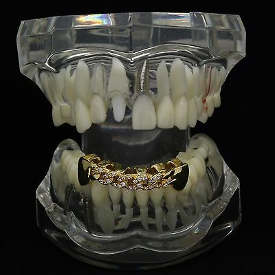 18K Gold Plated HQ Fully CZ Cuban Hip Hop Style Bottom GRILLZ Mouth Teeth Grills