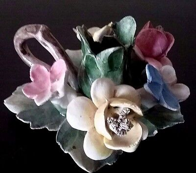 Vintage Capodimonte 5 Flower Candle Ring Figurine~Beautiful Delicate Work of Art