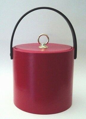 Vintage Faux Leather Red Ice Bucket Entertainment Time by Shelton Ware Retro USA