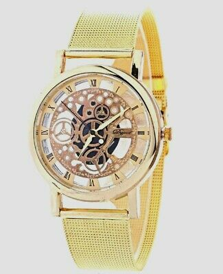Men Women Unisex Steampunk Skeleton Stainless Strap Mechanical Fashion Watch