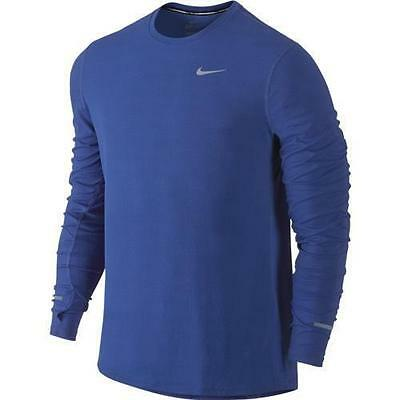NIKE Mens Contour L/S Running Shirt Blue Crew Neck 874618 455 Large XL NWT