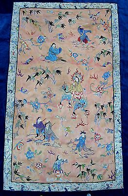 """Antique Chinese silk/ fabric embroidery panel 58"""" x34"""""""