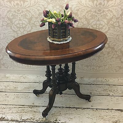 Antique Victorian Walnut Oval Centre Table