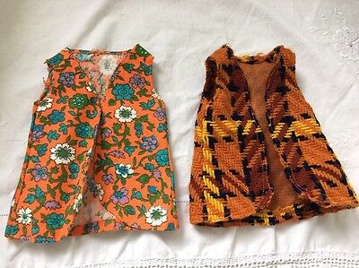 2 Vintage Crissy Doll FUNKY VESTS Orange Floral And 70's Plaid RETRO!