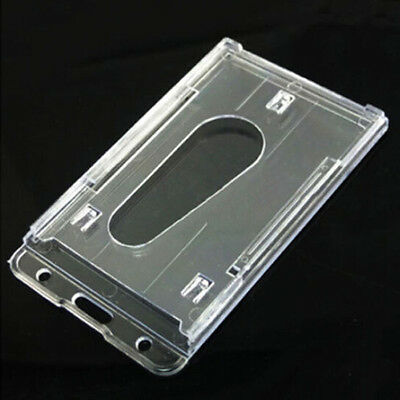 1X Clear Vertical Hard Plastic Business ID Card Badge Holder Double-sided
